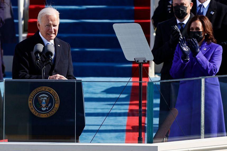 US President Joe Biden (left) delivers his speech after being sworn in.