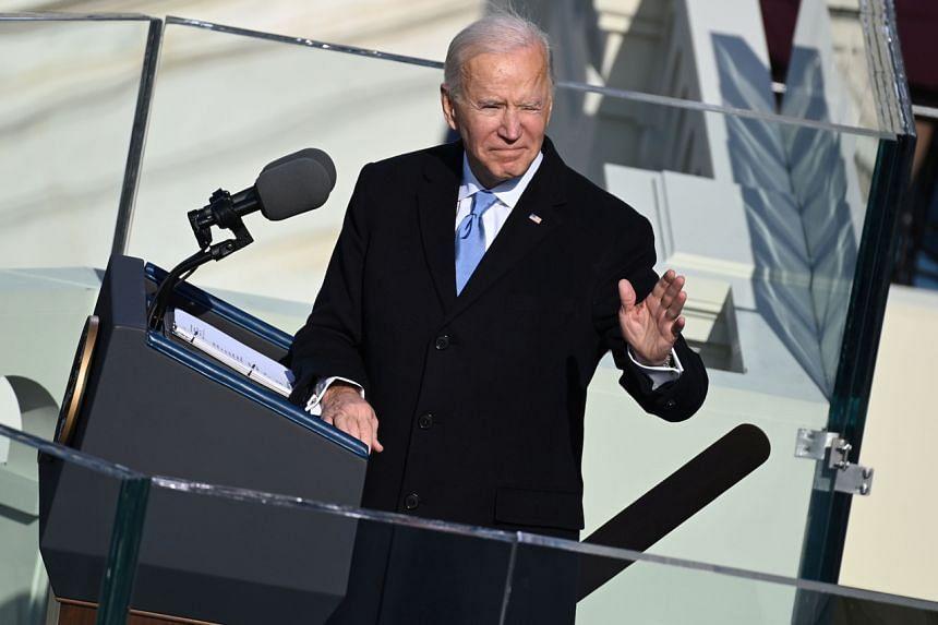 US President Joe Biden gives a speech after being sworn in in Washington on Jan 20, 2021.