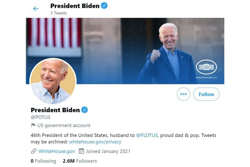 Tweets posted at the accounts prior to Mr Joe Biden being sworn in as the 46th US president will be archived.