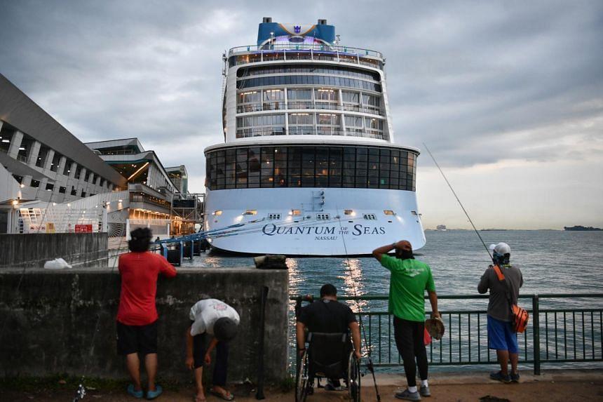 Royal Caribbean cruise ship Quantum of the Seas berthed at Marina Bay Cruise Centre on Dec 9, 2020.