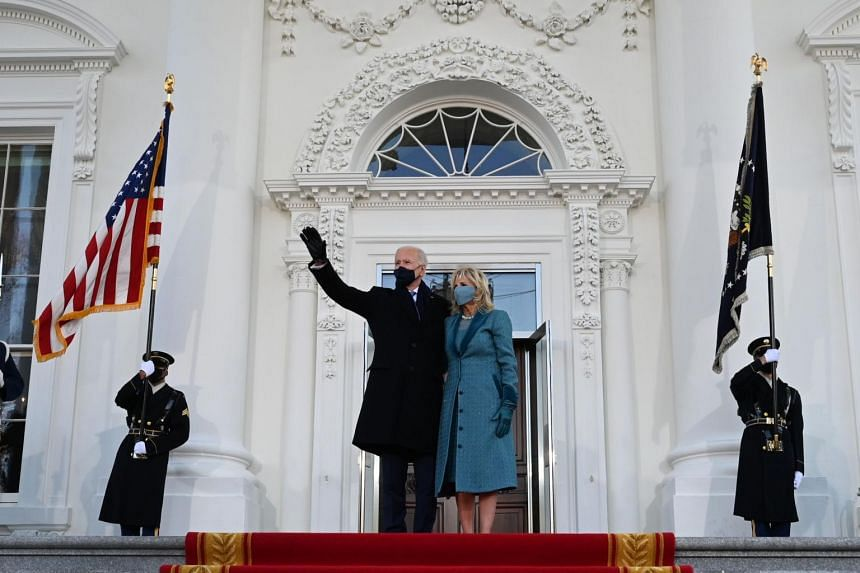US President Joe Biden and First Lady Jill Biden arriving at the White House in Washington on Jan 20, 2021.