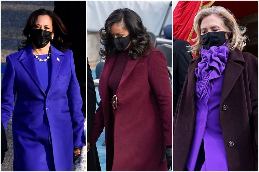 US Vice-President Kamala Harris, former first lady Michelle Obama and former Secretary of State Hillary Clinton.