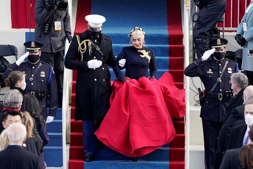 Musician Lady Gaga arrives to perform at the inauguration of US President Joe Biden in Washington on Jan 20, 2021.