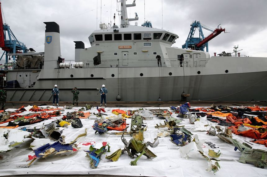 A view of Sriwijaya Air plane debris recovered from the crash site in waters off Jakarta on Jan 18, 2021.