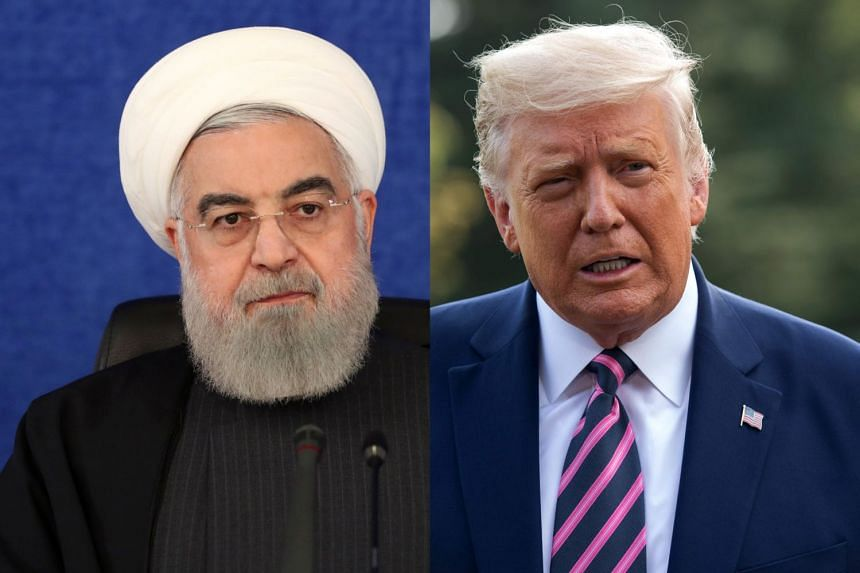 "Rouhani (left) labelled Trump (right) as ""someone for whom all of his four years bore no fruit other than injustice and corruption""."