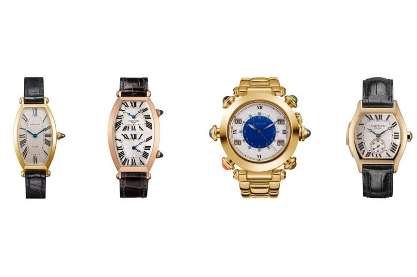 The collection includes (from left) the Tonneau watch in a 1985 yellow-gold model and an extra-large 2005 model in pink gold; a 1993 Pasha de Cartier golf watch in yellow gold; and a 2003 Tortue Minute Repeater in yellow gold.