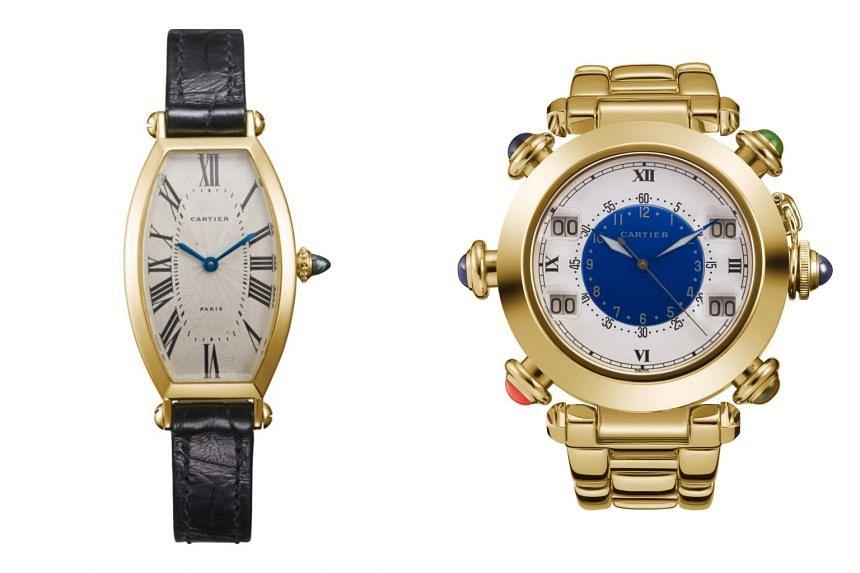 (From left) The 1985 Tonneau and the 1993 Pasha de Cartier golf watch.