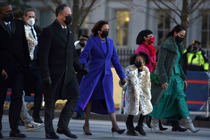 US Vice-President Kamala Harris and her family head to the White House after the inauguration, on Jan 20, 2021.