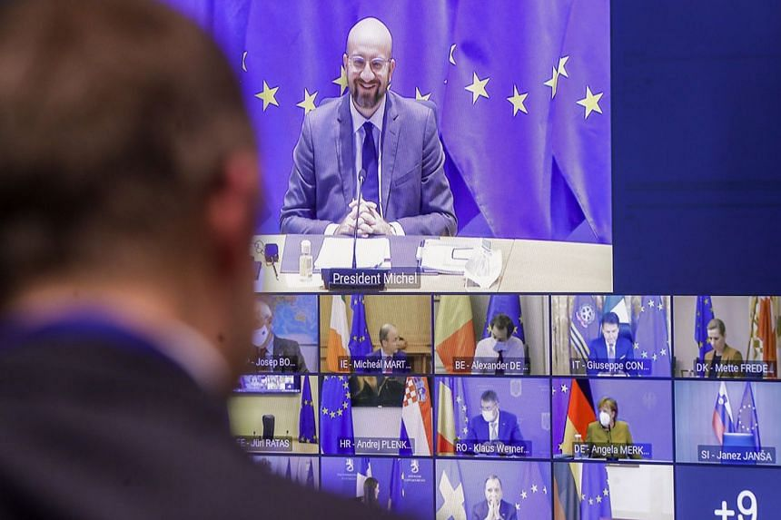 European Council president Charles Michel chairs a video conference on Covid-19, on Jan 21, 2021.