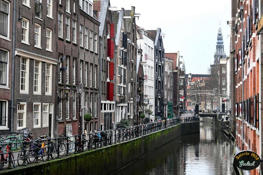 A December 2020 photo shows an empty street during a coronavirus lockdown in Amsterdam.