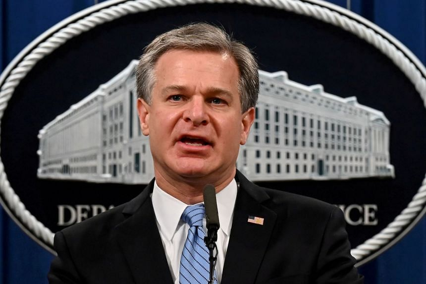 FBI Director Christopher Wray speaks during a press conference in Washington, in October 2020.