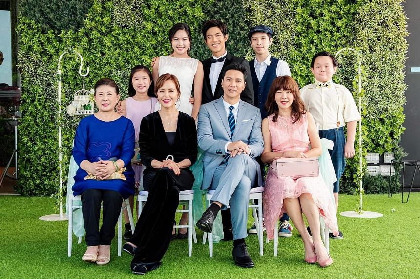 English-language show Titoudao, which starred Koe Yeet (left) and was dubbed in Mandarin, attracted an average of 658,800 views during its run on Channel 8 and 167,800 views on Channel 5. The cast of Mediacorp Channel 8 production My Guardian Angels.