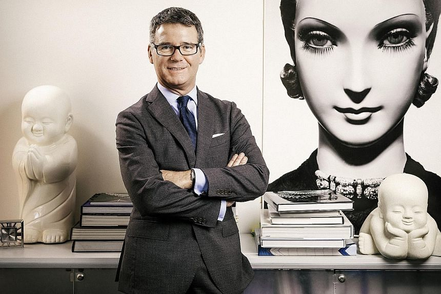 Cartier's image, style and patrimony director Pierre Rainero (left) says the newly released vintage range capitalises on the maison's distinctive watch shapes. The collection includes (from far left) the Tonneau watch in a 1985 yellow-gold model and