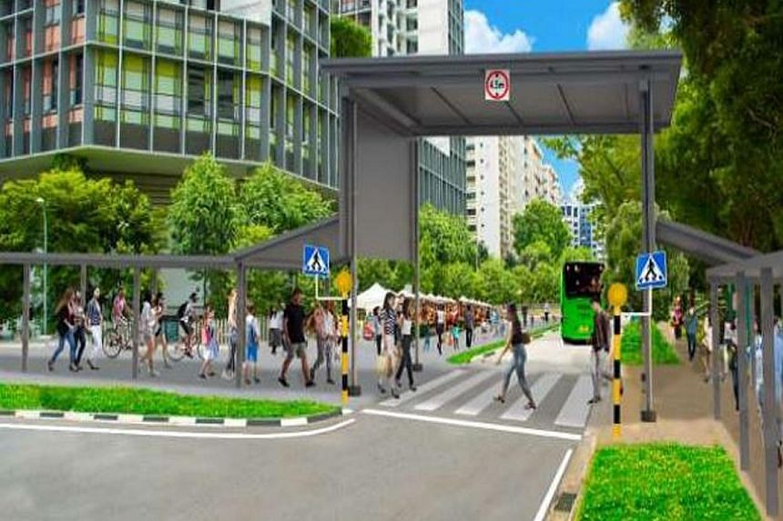 The junction of Woodlands Drive 71 and Woodlands Ring Road (above), in front of Kampung Admiralty, which will be temporarily closed off to cars and all other private vehicles. An artist's impression of the junction (right) after it has been pedestria