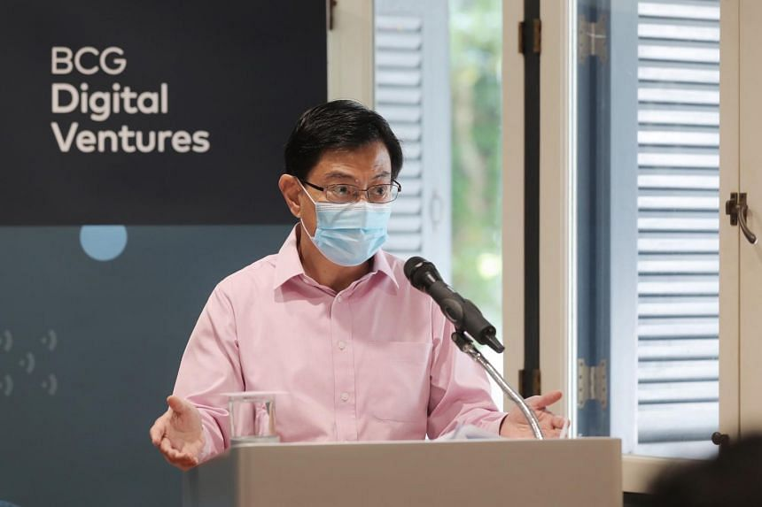 DPM Heng Swee Keat speaking at the official launch of the BCG Digital Ventures Singapore Campus, on Jan 22, 2021.