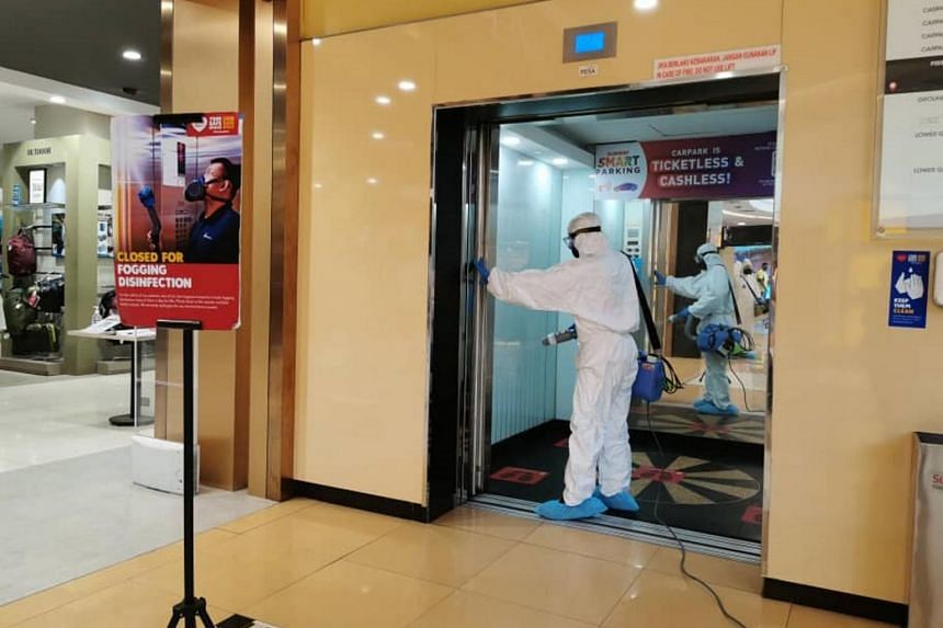 Sanitisation takes place every night after closing time at Sunway Pyramid shopping mall, Malaysia.