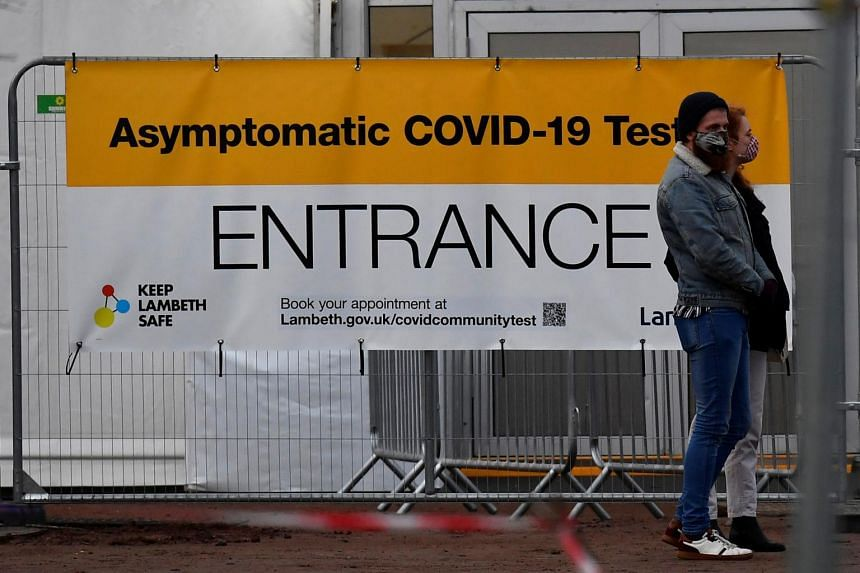 People at a Covid-19 test centre in London on Jan 11, 2021.