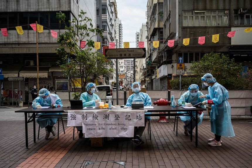 The registration area for a mandatory Covid-19 coronavirus test in the Jordan district of Kowloon.