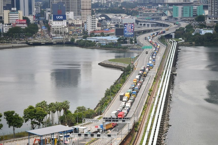 A traffic jam on the Causeway on Jan 22, the day compulsory Covid-19 antigen rapid testing was rolled out for cargo drivers entering Singapore at land checkpoints.