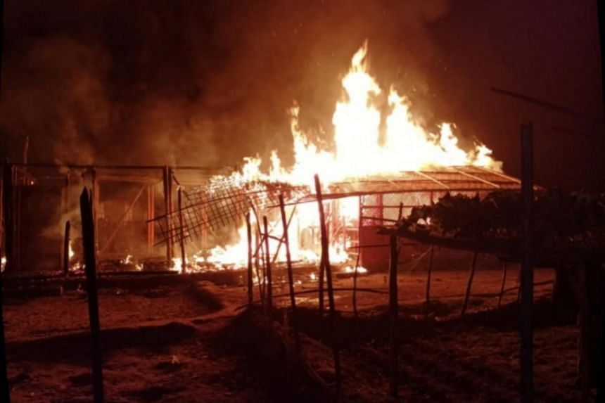 A fire at a Rohingya camp in Cox's Bazar, Bangladesh, on Jan 18, 2021.