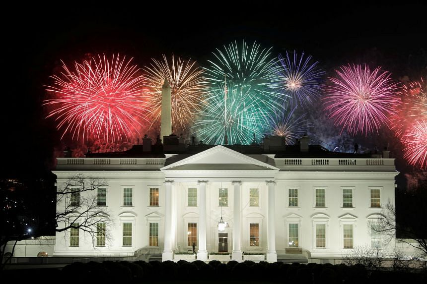 Fireworks seen above the White House following the presidential inauguration on Wednesday. At least for a majority of Americans who voted for President Joe Biden, hope was restored as he took over the wheel. PHOTO: REUTERS US President Joe Biden and