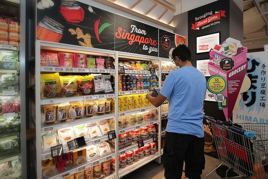 A section containing local products at the new FairPrice Xtra hypermarket in Parkway Parade.