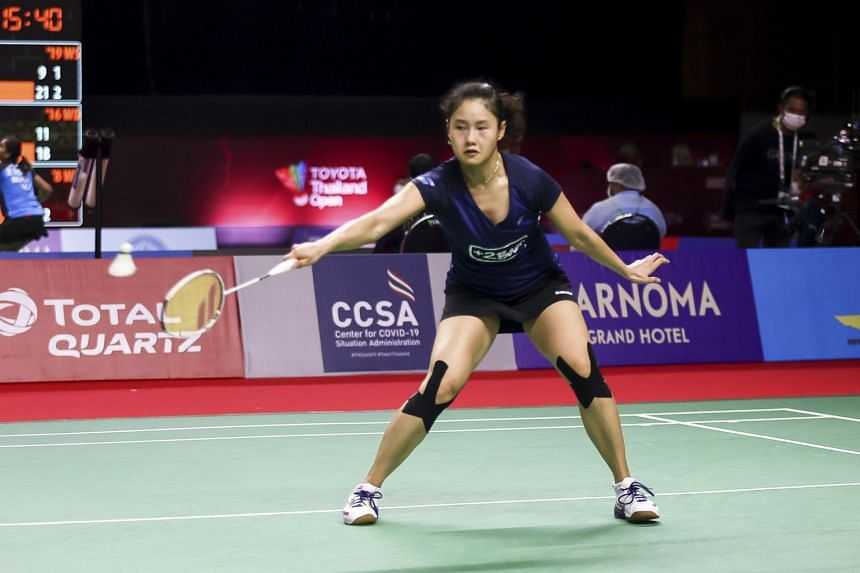 Qi Xuefei of France during a match against Carolina Marin of Spain at the BWF Toyota Thailand Open in Bangkok on Jan 20, 2021.