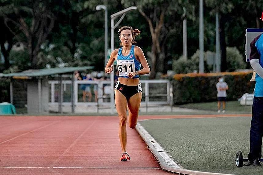 "Goh Chui Ling running the 1,500m in last month's SA performance trial. Yesterday, her time in the 5,000m was just over three seconds outside the SEA Games qualifying standard, despite still being in ""pre-competition phase""."