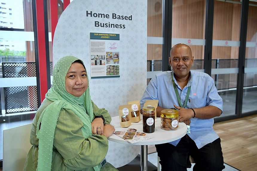 Ms Andini Muslim, 42, who runs home-based business Annticing Treats with her husband Abdul Muhaimin Mustaffa, 46, says there is a lot of hard work but the reward comes from getting repeat orders from customers. ST PHOTO: NG SOR LUAN