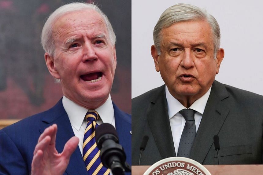 Biden (left) discussed his plans to tackle migration with Mexican counterpart Lopez Obrador (right).