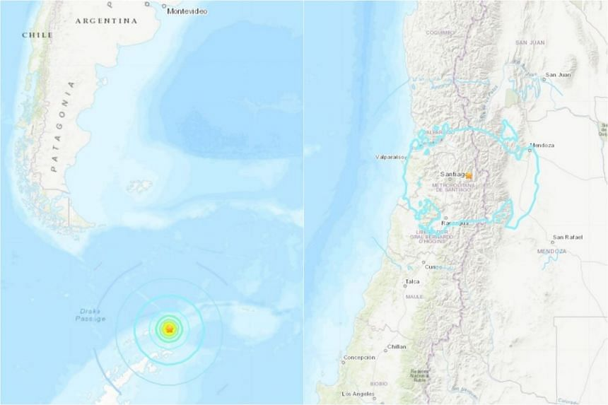 The first tremor of magnitude 7.1 struck in Antarctica (left) while the second one of magnitude 5.6 struck near Santiago.