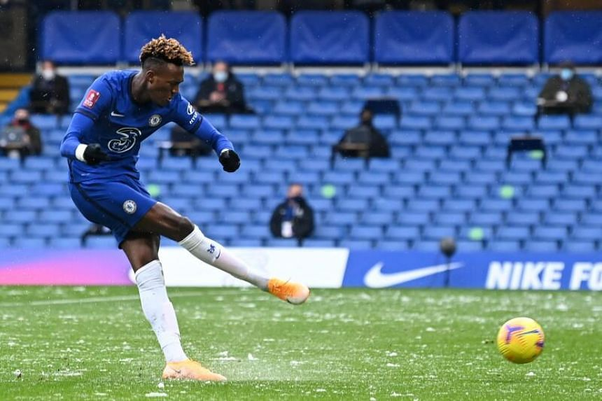 Chelsea's English striker Tammy Abraham shoots to score during the English FA Cup match in London, on Jan 24, 2021.