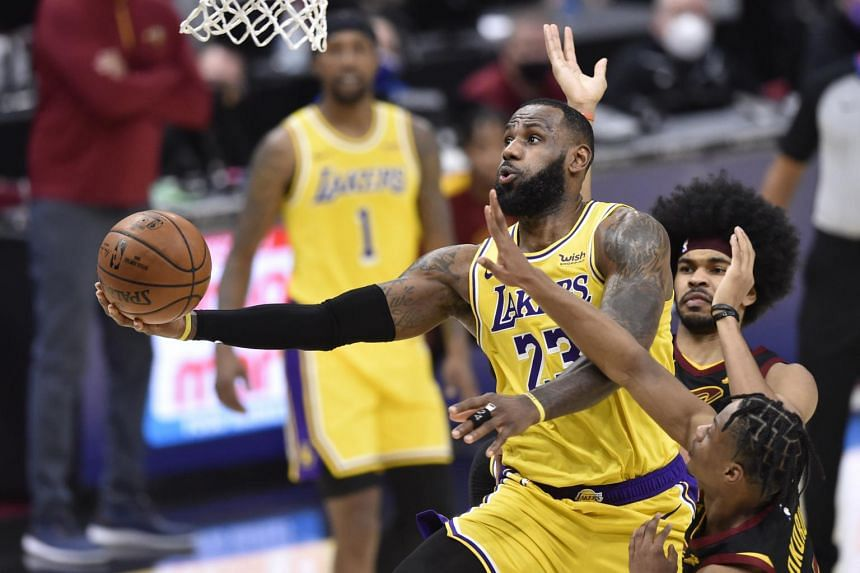 Los Angeles Lakers forward LeBron James during a game against the Cleveland Cavaliers in Ohio on Jan 25, 2021.