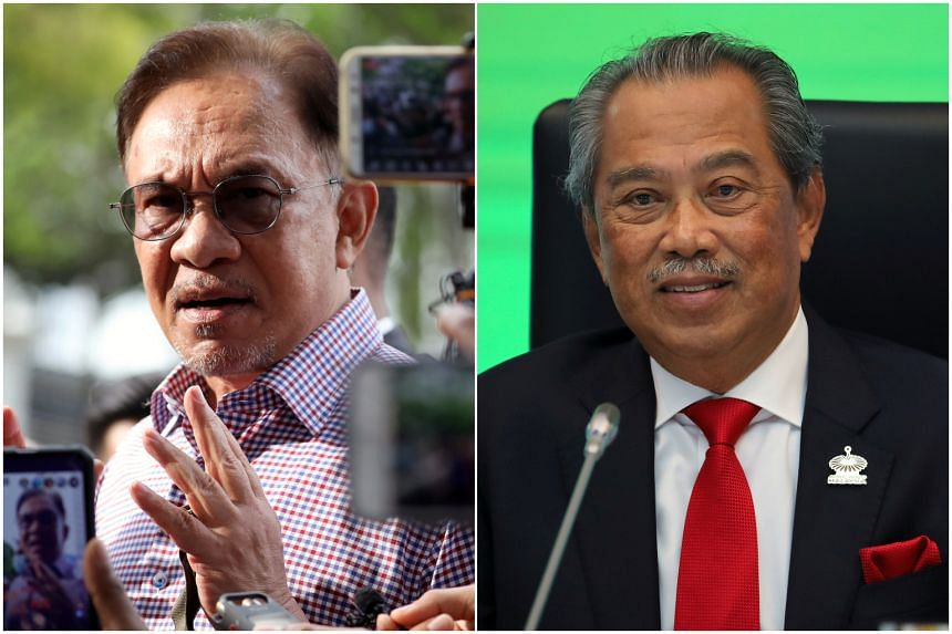 Mr Anwar Ibrahim (left) is seeking a court declaration that PM Muhyiddin Yassin (right) gave unlawful advice to the King to suspend Parliament.