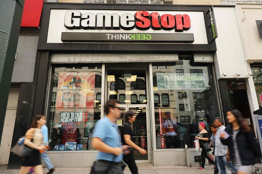 Shares of US videogame retailer GameStop doubled on Monday (Jan 25) before paring back.