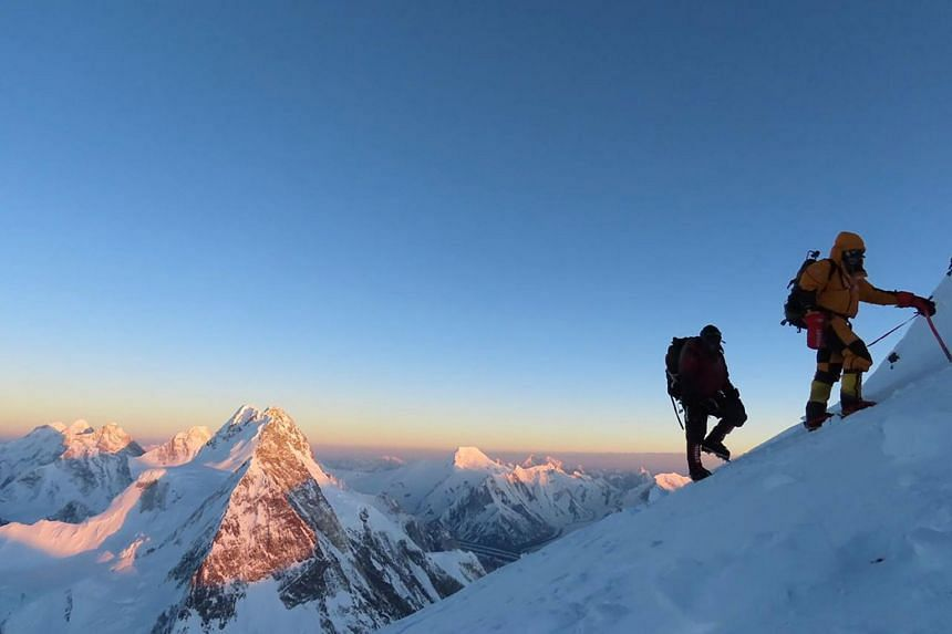 Nepali mountaineers on their way to the summit of K2 on Jan 16, 2021.