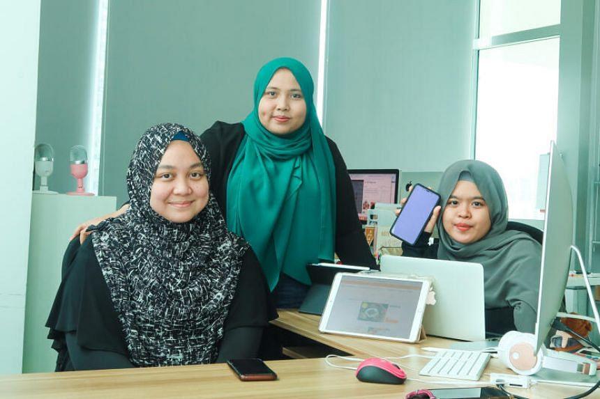 (From left) Ms Nur Sarah Razali, Ms Jumaiyah Mahathir and Ms Nur'Adriana Maisarah Abdul Rani at their office in Jalan Besar.