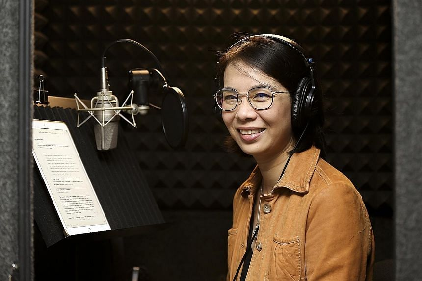 Associate Professor Loh Chin Ee recording an episode of her new podcast, How We Read.