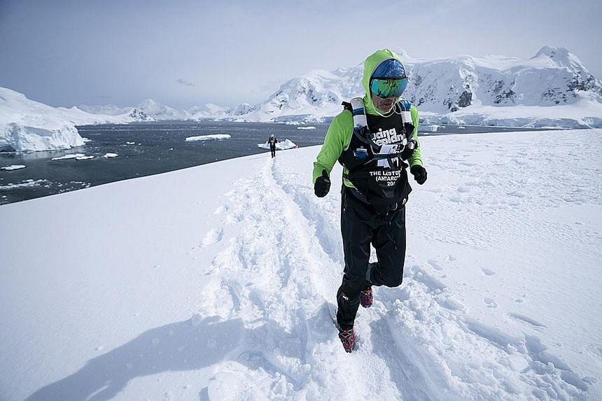 Ultra-marathoner Alain Esseiva has taken on races in Antarctica (above), Mongolia and Kazakhstan.