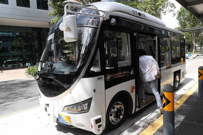 An autonomous bus in Science Park 2 yesterday. This will be the first time driverless bus services here have collected fares from passengers and generated revenue.