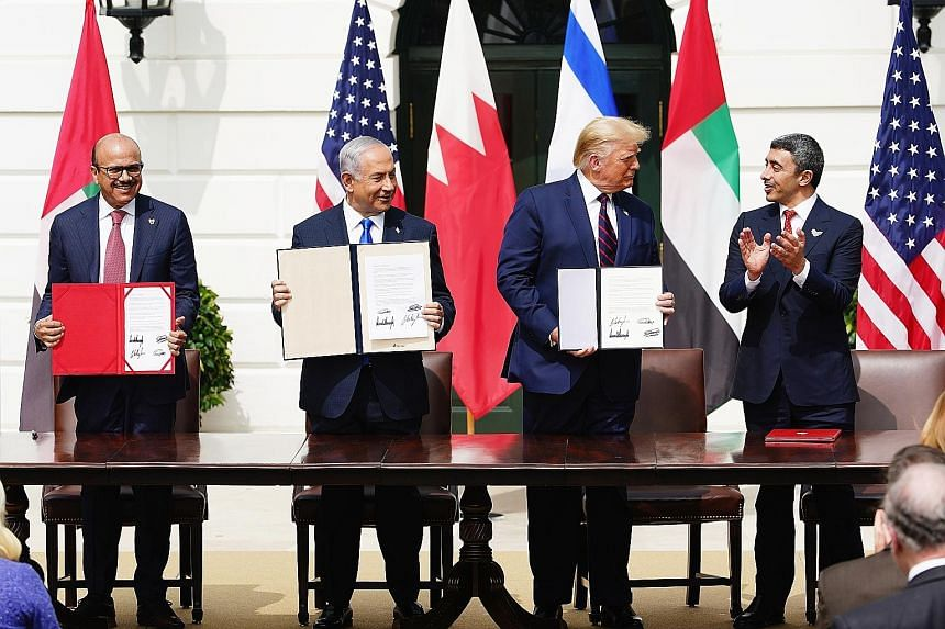 At the Abraham Accords signing ceremony in Washington last September which normalises relations between the United Arab Emirates and Bahrain with Israel were: (from far left) Bahrain Foreign Affairs Minister Sheikh Khalid Bin Ahmed Al-Khalifa, Israel