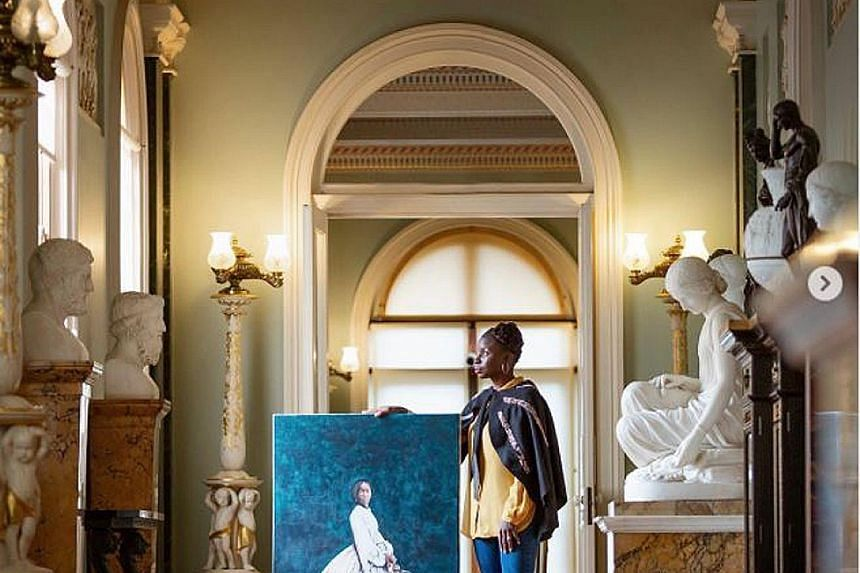 British-Zambian artist Hannah Uzor and her portrait of Sarah Forbes Bonetta at Osbourne House in the Isle of Wight.