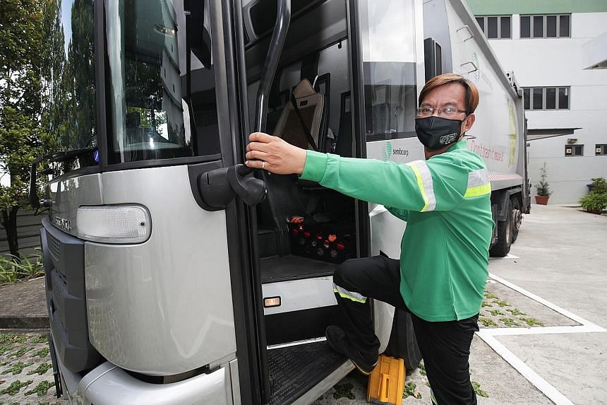 At SembWaste, Mr Lim Peng Soon has moved from being a garbage truck driver to overseeing a team of around 100 workers after upgrading his skills. He says having a progressive wage model for the entire waste management industry would help attract more