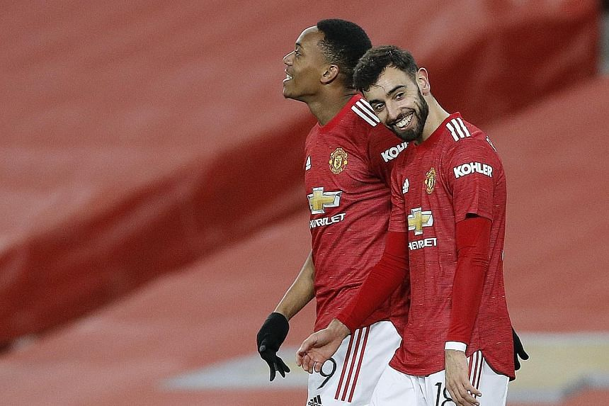 The attacking verve of Bruno Fernandes (with Anthony Martial) has propelled Manchester United to the league's summit.