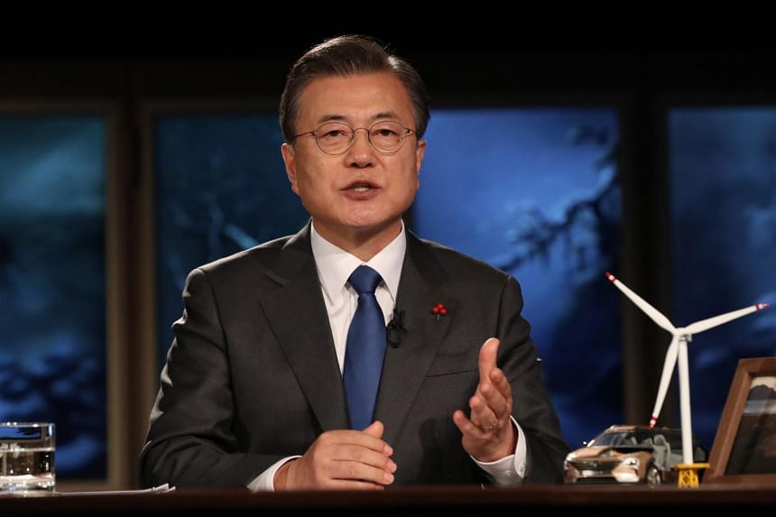 South Korean President Moon Jae-in delivers a special address during an online meeting of the 2021 World Economic Forum, Jan 27, 2021.