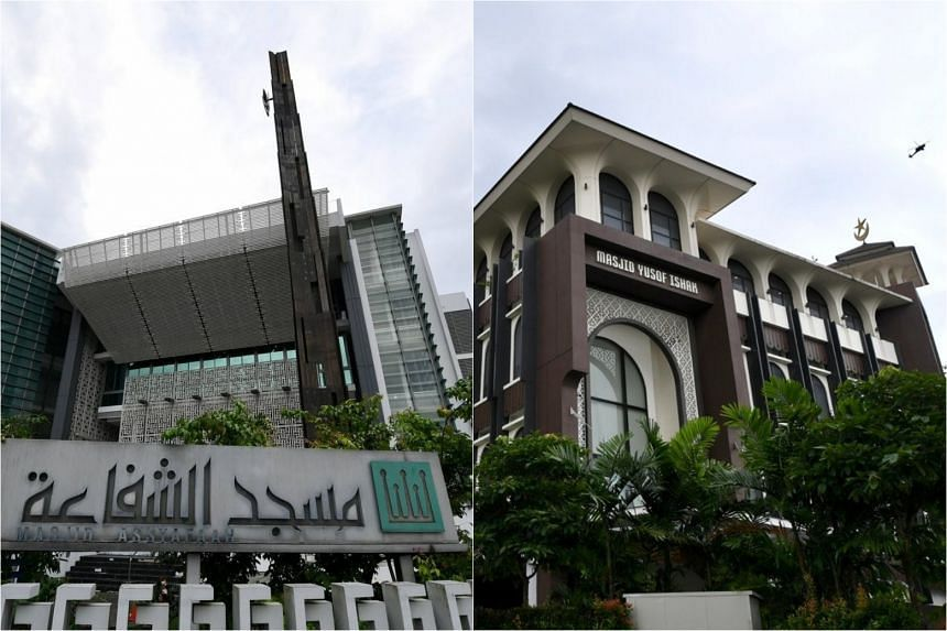 The youth had chosen Assyafaah Mosque in Sembawang (left) and Yusof Ishak Mosque in Woodlands as his targets.