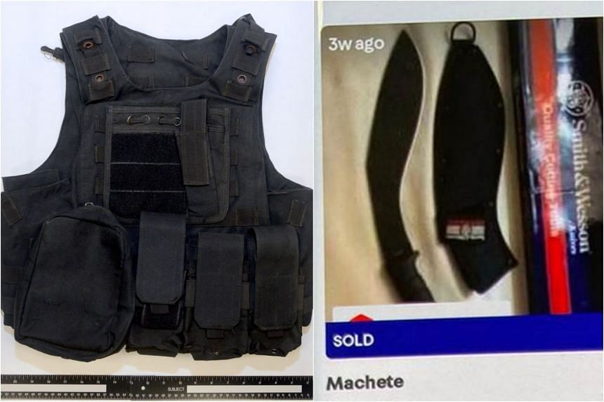 The youth bought a tactical vest from an online platform and had found his choice machete on Carousell but had not purchased it yet.