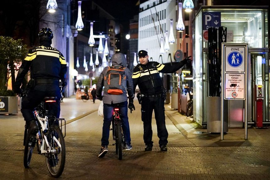 Increased police presence in the Grote Marktstraat in The Hague, The Netherlands, on Jan 26, 2021.
