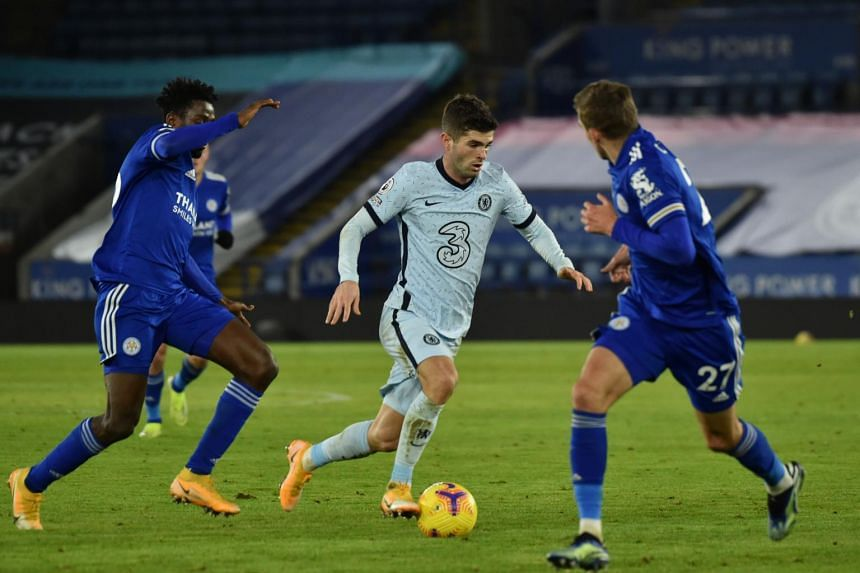 Chelsea's Christian Pulisic during the English Premier League football match against Leicester City in Leicester on Jan 19, 2021.
