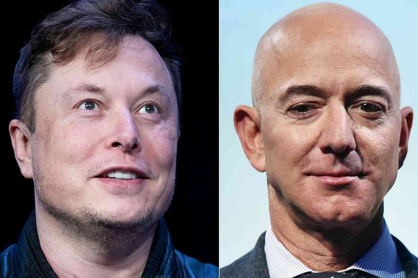 Mr Elon Musk (left) and Mr Jeff Bezos' dispute that would normally be confined to regulatory filings, is spilling into public view.